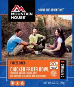 Mountain House Freeze Dried Chicken Fajita Bowl with Fire Roasted Vegetables 2 Servings